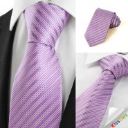 New Striped Lavender JACQUARD Mens Tie Formal Necktie Wedding Holiday Gift #0030