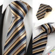 New Striped Golden Black JACQUARD Business Mens Tie Necktie Holiday Gift #1001