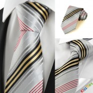 New Striped Golden Red Grey Business Formal Mens Tie Necktie Holiday Gift #1003