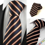 Luxury Silver Striped Black Formal Mens Tie Necktie Wedding Holiday Gift #1006