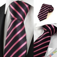 New Pink Striped Black JACQUARD Men Tie Necktie Wedding Party Holiday Gift #1007