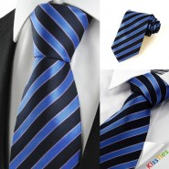 New Striped Blue Black JACQUARD Men Tie Necktie Wedding Party Holiday Gift #1008