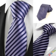 New Striped Violet Black Formal Men Tie Necktie Wedding Party Holiday Gift #1009