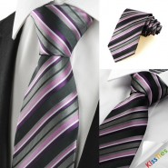 New Striped Purple Grey Classic Mens Tie Necktie Wedding Holiday Gift #1010