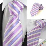 New Classic Pink Blue Striped Mens Tie Necktie Wedding Party Holiday Gift #1011