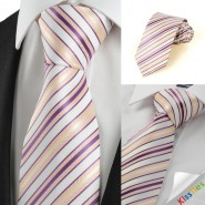 New Purple Yellow Striped Mens Tie Necktie Wedding Party Holiday Gift #1012
