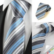 New Striped Blue Grey Classic Mens Tie Necktie Wedding Party Holiday Gift #1025