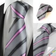 New Striped Pink Grey Novelty Mens Tie Necktie Wedding Party Holiday Gift #1026