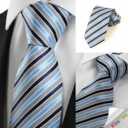 New Striped Blue Grey Formal Mens Tie Necktie Wedding Party Holiday Gift #1034