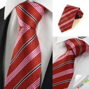 New White Black Striped Red Mens Tie Necktie Wedding Party Holiday Gift #1047
