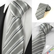 New Striped Grey Black Classic Mens Tie Necktie Wedding Party Holiday Gift #1049