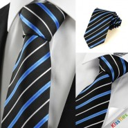 New Striped Blue Black JACQUARD Mens Tie Necktie Wedding Holiday Gift #1059