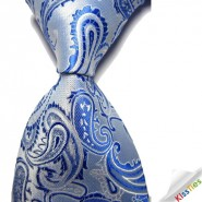 New Bright Blue Paisley JACQUARD WOVEN Mens Tie Necktie