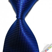 New Royal Blue Checked JACQUARD WOVEN Mens Tie Necktie