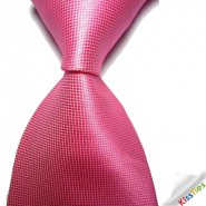 New Hot Pink Solid Checked JACQUARD WOVEN Mens Tie Necktie