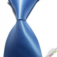 New Solid Blue Checked JACQUARD WOVEN Mens Tie Necktie