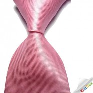 New Solid Pink Checked JACQUARD WOVEN Mens Tie Necktie